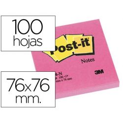 BLOC DE NOTAS ADHESIVAS QUITA Y PON POST-IT 76X76 MM FUCSIA NEON CON 100 HOJAS
