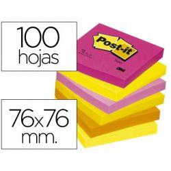 BLOC DE NOTAS ADHESIVAS QUITA Y PON POST-IT 76X76 MM NEON PACK DE 6 BLOCS SURTIDO