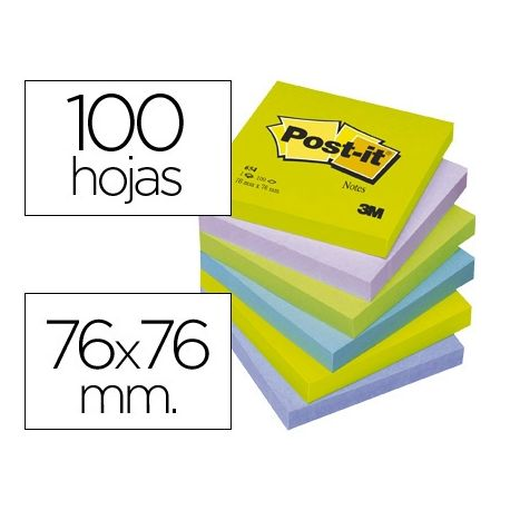 BLOC DE NOTAS ADHESIVAS QUITA Y PON POST-IT 76X76 MM ULTRA INTENSO SURTIDO PACK DE 6 BLOCS