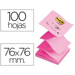 BLOC DE NOTAS ADHESIVAS QUITA Y PON POST-IT 76X76 MM Z-NOTES ROSA PASTEL Y NEON COLORES ALTERNOS PAC