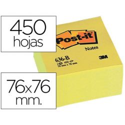 BLOC DE NOTAS ADHESIVAS QUITA Y PON POST-IT 76X76X45 MM CUBO COLORES AMARILLO 450 HOJAS