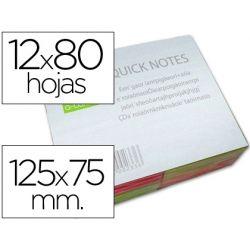 BLOC DE NOTAS ADHESIVAS QUITA Y PON Q-CONNECT 125X75 MM CON 80 HOJAS FLUORESCENTES