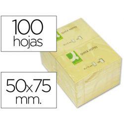 BLOC DE NOTAS ADHESIVAS QUITA Y PON Q-CONNECT 50X75 MM CON 100 HOJAS
