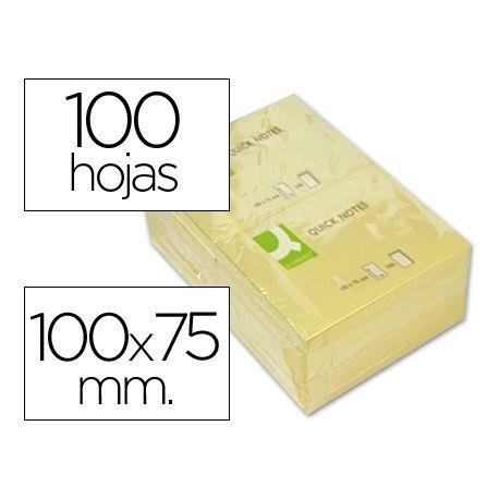 BLOC DE NOTAS ADHESIVAS QUITA Y PON Q-CONNECT 75X100 MM CON 100 HOJAS