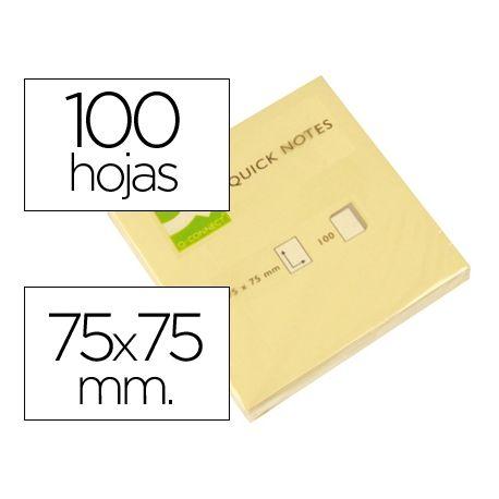 BLOC DE NOTAS ADHESIVAS QUITA Y PON Q-CONNECT 75X75 MM CON 100 HOJAS