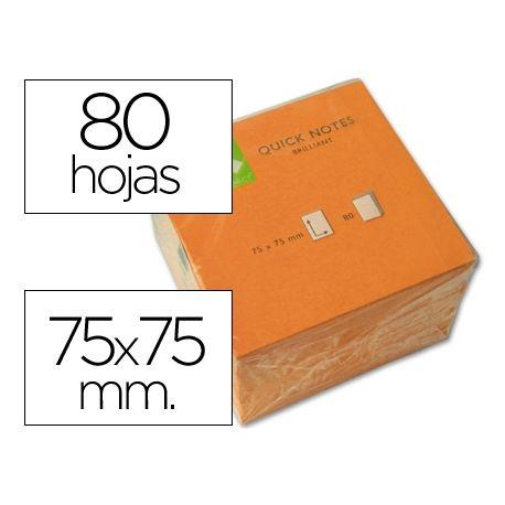 BLOC DE NOTAS ADHESIVAS QUITA Y PON Q-CONNECT 75X75 MM NARANJA NEON 80 HOJAS