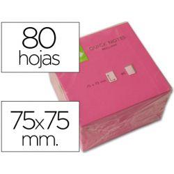 BLOC DE NOTAS ADHESIVAS QUITA Y PON Q-CONNECT 75X75 MM ROSA NEON 80 HOJAS