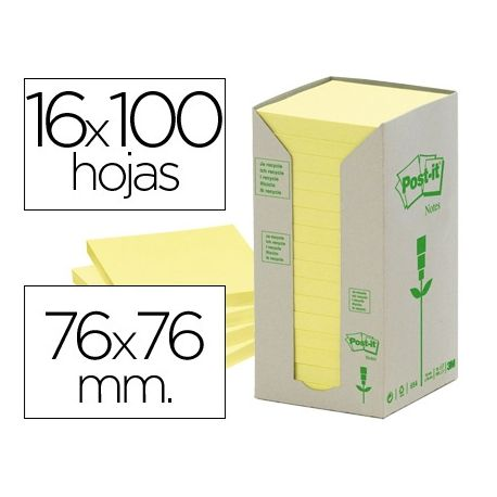 BLOC DE NOTAS ADHESIVAS QUITA Y PON RECICLADAS EN TORRE POST-IT 76 X 76 MM 16 BLOCS 654 RECICLADO