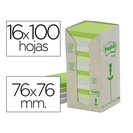 BLOC DE NOTAS ADHESIVAS QUITA Y PON POST-IT 76X76MM EN TORRERECICLADAS PACK DE 16 BLOCS 654 COLORES