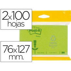 BLOC DE NOTAS ADHESIVAS QUITA Y PON RECICLADAS POST-IT 76X127MM VERDE CLARO Y OSCURO 6832-1G