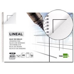 BLOC DIBUJO LIDERPAPEL LINEAL ESPIRAL 230X325MM 20 HOJAS 130G/M2 CON RECUADRO 2 TALADROS