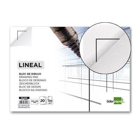 BLOC DIBUJO LIDERPAPEL LINEAL ENCOLADO 230X325MM 20 HOJAS 130G/M2 CON RECUADRO