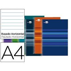 BLOC ESPIRAL LIDERPAPEL A4 MICRO CLASSIC TAPA FORRADA 160H 60G HORIZONTAL 5 BANDAS 4 TALADROS. COLOR