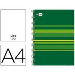 BLOC ESPIRAL LIDERPAPEL A4 MICRO CLASSIC TAPA FORRADA 160H 70G LISO 5 BANDAS 4 TALADROS. VERDE