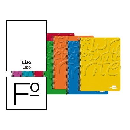BLOC ESPIRAL LIDERPAPEL FOLIO WRITE TAPA CARTONCILLO 80H 60G LISO. COLORES SURTIDOS