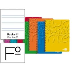 BLOC ESPIRAL LIDERPAPEL FOLIO WRITE TAPA CARTONCILLO 80H 60G PAUTA 3.5MM CON MARGEN. COLORES SURTIDO