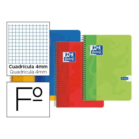 BLOC ESPIRAL OXFORD CARTONCILLO FOLIO 80 HOJAS CUADROS 4 MM