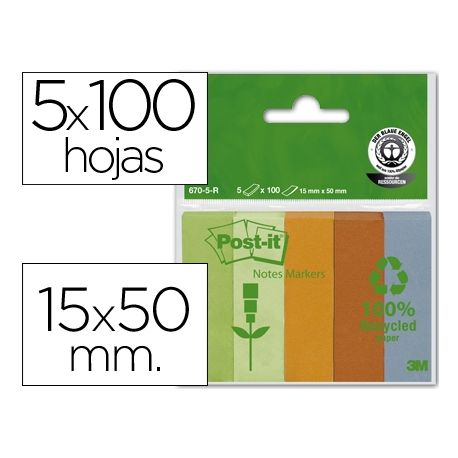 BLOC NOTA ADHESIVAS QUITA Y PON RECICLADAS POST-IT 15X50MMVERDE-NARANJA-MANDARINA-AZUL
