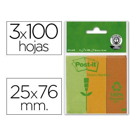 BLOC NOTA ADHESIVAS QUITA Y PON RECICLADAS POST-IT 25X76MMVERDE-NARANJA-MANDARINA