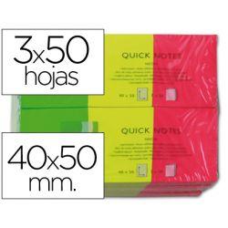 BLOC NOTAS Q-CONNECT ADHESIVAS 40X50 MM FLUORESCENTES PACK DE 3 CON 50 HOJAS