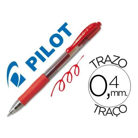 BOLIGRAFO PILOT G-2 ROJO TINTA GEL -RETRACTIL -SUJECION DE CAUCHO