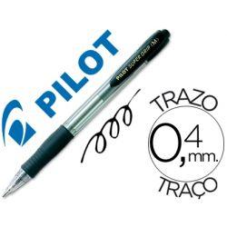 BOLIGRAFO PILOT SUPER GRIP NEGRO RETRACTIL SUJECION DE CAUCHO TINTA BASE DE ACEITE