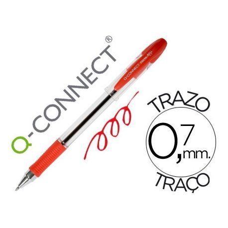BOLIGRAFO Q-CONNECT DELTA ROJO -SUJECION DE CAUCHO -CON CAPUCHON