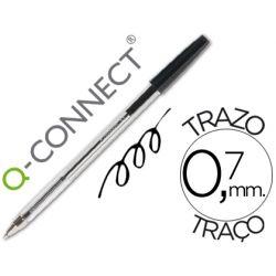 BOLIGRAFO TRANSPARENTE Q-CONNECT NEGRO MEDIO KF26040