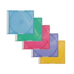 CAJA DE CD Q-CONNECT SLIM 5 COLORES SURTIDOS