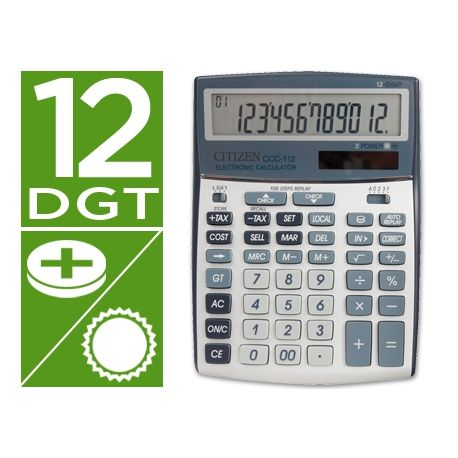 CALCULADORA CITIZEN CCC-112 S -SOBREMESA -12 DIGITOS 202X155X33 MM