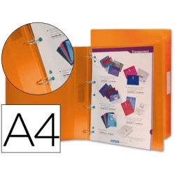 CARPETA BEAUTONE 4 ANILLAS 25 MM MIXTAS 43431 POLIPROPILENO DIN A4 NARANJA SERIE FROSTY