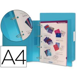 CARPETA BEAUTONE 4 ANILLAS 25 MM MIXTAS 43432 POLIPROPILENO DIN A4 AZUL SERIE FROSTY