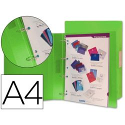 CARPETA BEAUTONE 4 ANILLAS 25 MM MIXTAS 43433 POLIPROPILENO DIN A4 VERDE SERIE FROSTY