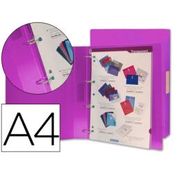 CARPETA BEAUTONE 4 ANILLAS 25 MM MIXTAS 43436 POLIPROPILENO DIN A4 VIOLETA SERIE FROSTY
