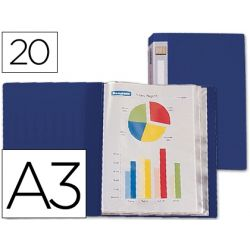 CARPETA BEAUTONE ESCAPARATE 31312 20 FUNDAS POLIPROPILENO DIN-A3 AZUL -LOMO PERSONALIZABLE