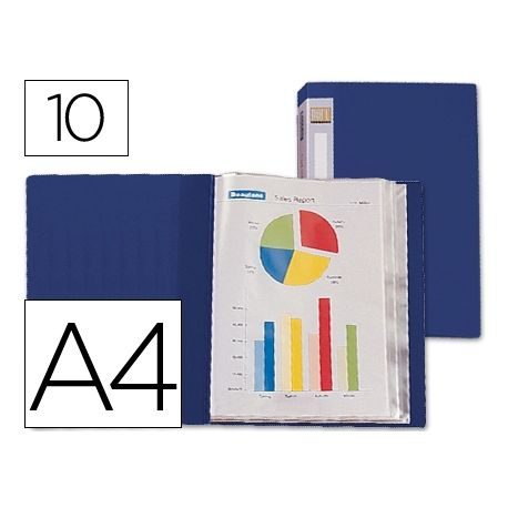 CARPETA BEAUTONE ESCAPARATE 31702 10 FUNDAS POLIPROPILENO DIN A4 AZUL -LOMO PERSONALIZABLE