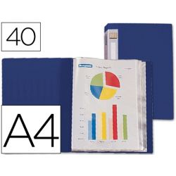 CARPETA BEAUTONE ESCAPARATE 31722 40 FUNDAS POLIPROPILENO DIN A4 AZUL -LOMO PERSONALIZABLE