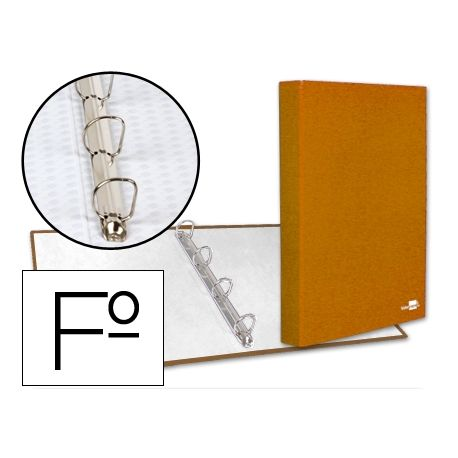 CARPETA DE 4 ANILLAS 25MM MIXTAS LIDERPAPEL FOLIO CARTON FORRADO PAPER COAT NARANJA