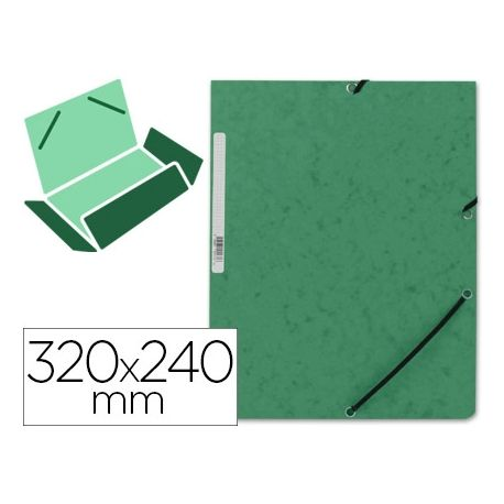 CARPETA Q-CONNECT GOMAS KF02168 CARTON SIMIL-PRESPAN SOLAPAS 320X243 MM VERDE