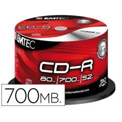 CD-R EMTEC CAPACIDAD 700MB DURACION 80MIN VELOCIDAD 52X BOTE 50 UNIDADES