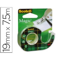 CINTA ADHESIVA SCOTCH MAGIC INVISIBLE 7,5X19 MM EN PORTARROLLO