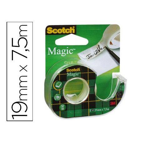 CINTA ADHESIVA SCOTCH MAGIC INVISIBLE 7,5X19 MM EN PORTARROLLO