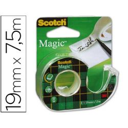 CINTA ADHESIVA SCOTH MAGIC INVISIBLE CLIPS STRIP 7,5X19MM EN PORTARROLLO