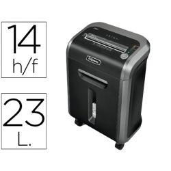 DESTRUCTORA DE DOCUMENTOS FELLOWES PS-79Ci CAPACIDAD DE CORTE 14 H DESTRUYE GRAPAS CLIPS Y CD