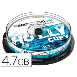 DVD+RW EMTEC CAPACIDAD 4,7GB VELOCIDAD 4X REGRABABLE CAJA -1 UNIDAD-