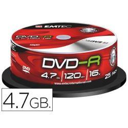 DVD-R EMTEC CAPACIDAD 4,7GB VELOCIDAD 16X BOTE 25 UNIDADES