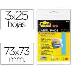 ETIQUETA ADHESIVA POST-IT SUPER STICKY REMOVIBLE PACK DE 1 BLOC AZUL Y 2 AMARILLO 73X73MM