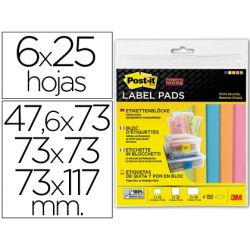 ETIQUETA ADHESIVA POST-IT SUPER STICKY REMOVIBLE PACK SURTIDO 2 BLOC 47,6X73MM 2 BLOC 73X73MM Y 2 BL
