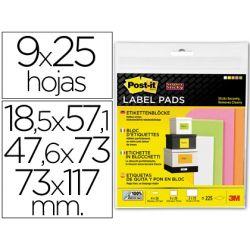 ETIQUETA ADHESIVA POST-IT SUPER STICKY REMOVIBLE PACK SURTIDO 4 BLOC 15,8X57,1MM 3 BLOC 47,6X73MM Y