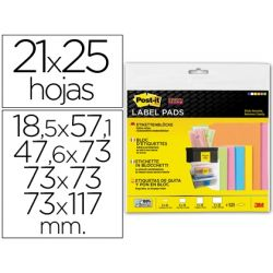 ETIQUETA ADHESIVA POST-IT SUPER STICKY REMOVIBLE PACK SURTIDO 6 BLOC 47,6X73MM 4 BLOC 73X73MM Y 3 BL